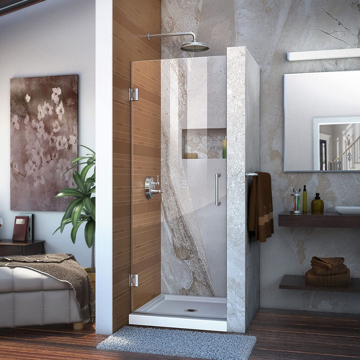 "DreamLine Unidoor 30 in. Width, Frameless Hinged Shower Door, 3/8"" Glass, Chrome Finish"