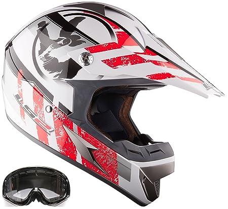 Casque moto lS2 mX433 & mX lunettes de motocross rouge