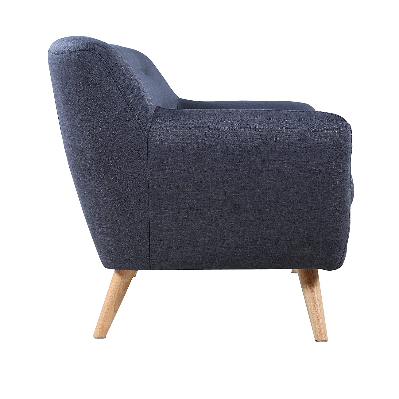Mid-Century modern tufted linen fabric loveseat in various colors - polo blue, blue, light grey, yellow and red (Light Grey with Multi Color Buttons) 2