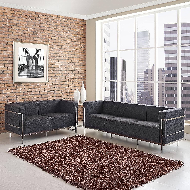 LexMod Charles Loveseat and Sofa - Dark Gray - Set of 2