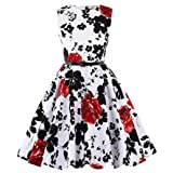 Knee-Length Floral Zipper at Back Performance Dresses 2# 11~12 Yrs (Color: K250-2, Tamaño: 11-12 Years)