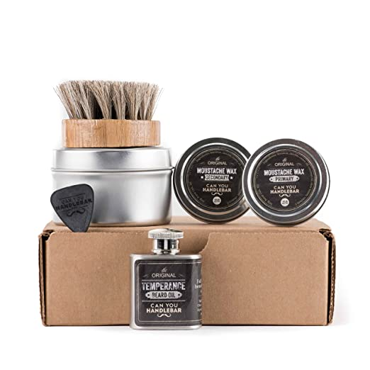 Basic Beard Care Kit - Temperance Beard Oil Flask | Unscented | Mustache Wax SET | Horse-Hair Beard Oil Brush