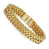 FIBO STEEL Stainless Steel 12MM Two-strand Wheat Chain Bracelet for Men Punk Biker Bracelet,8.0 inches G