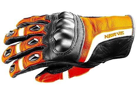 NERVE 31140427_03  KQ12 Gants Moto, Noir-Orange Néon, Taille M/9
