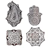 Hashcart Hand-Carved Mughal Design Wooden Blocks for Printing - Set of 4 - Christmas Gifts (Color: # 1112, Tamaño: Set of 4)