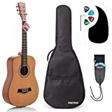 Acoustic Guitar Bundle Junior (Travel) Series by Hola! Music with D'Addario EXP16 Steel Strings, Padded Gig Bag, Guitar Strap and Picks, 3/4 Size 36 Inch (Model HG-36N), Natural Satin Finish (Color: Natural, Tamaño: Acoustic 3/4 Size)