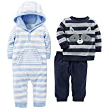 Simple Joys by Carter's Baby Boys' 3-Piece Playwear Set, Blue/Gray, 6-9 Months (Color: Blue/Gray, Tamaño: 6-9 Months)