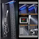 ELLO&ALLO Stainless Steel Rainfall Waterfall Shower Panel Tower Rain Massage System with Jets,Hydroelectricity Temperature Display Hand Shower and Horizontal Spray Fingerprint-Free,Brushed Black