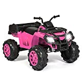 Best Choice Products 12V Kids Powered Large ATV Quad 4-Wheeler Ride-On Car w/ 2 Speeds, Spring Suspension, MP3, Lights, Storage - Pink (Color: Pink)
