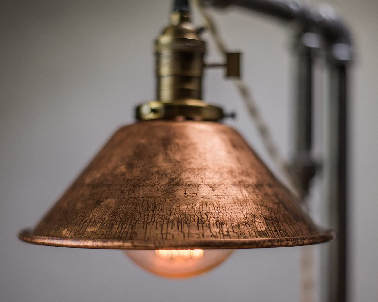 Industrial Style Table Lamp - Pendant Edison Bulb - Copper Shade 2