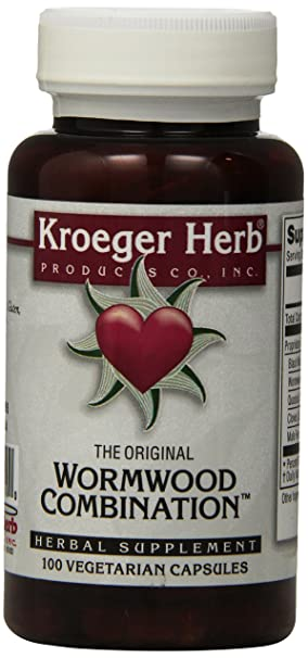 Kroeger Herb Wormwood Combination Vegetarian Capsules, 100 Count