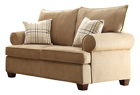 Homelegance 9679-2 Textured 100-Percent Polyester Fabric Love Seat, Brown