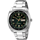 Seiko Men's SNKM97 Analog Green Dial Automatic Silver Stainless Steel Watch (Color: Green)