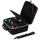 Rayvol Deluxe Carrying Case for Nintendo Switch, Travel Case w/ Rubberized Handle and Shoulder Strap, Fit Complete Switch System + Pro Controller (Color: black)