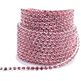 KAOYOO 1 Roll 10 Yards Crystal Rhinestone Close Chain Trim, SS16/4.0mm, Silver Chain with Rose Crystal Beads (Color: Silver with Rose Beads, Tamaño: SS16/4.0mm)