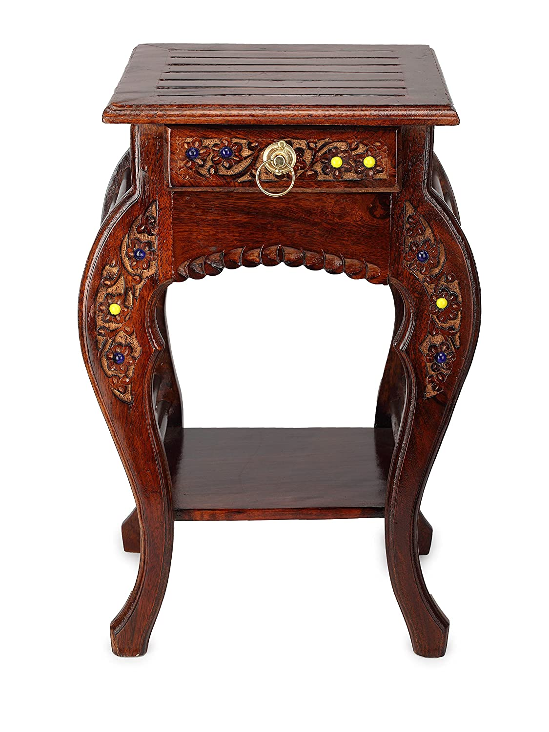 Onlineshoppee wooden hand carved side table stool antique for Where can i buy vintage furniture
