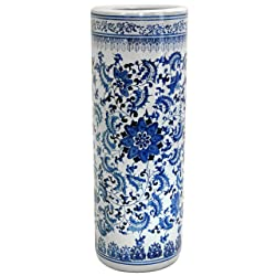 Oriental Furniture Distinctive Affordable Home Decor Gift Idea 24-Inch Ming Blue and White Porcelain Oriental Umbrella and Cane Stand Floral