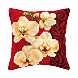Vervaco Orchid Cushion Cross Stitch Kit (Color: Various)