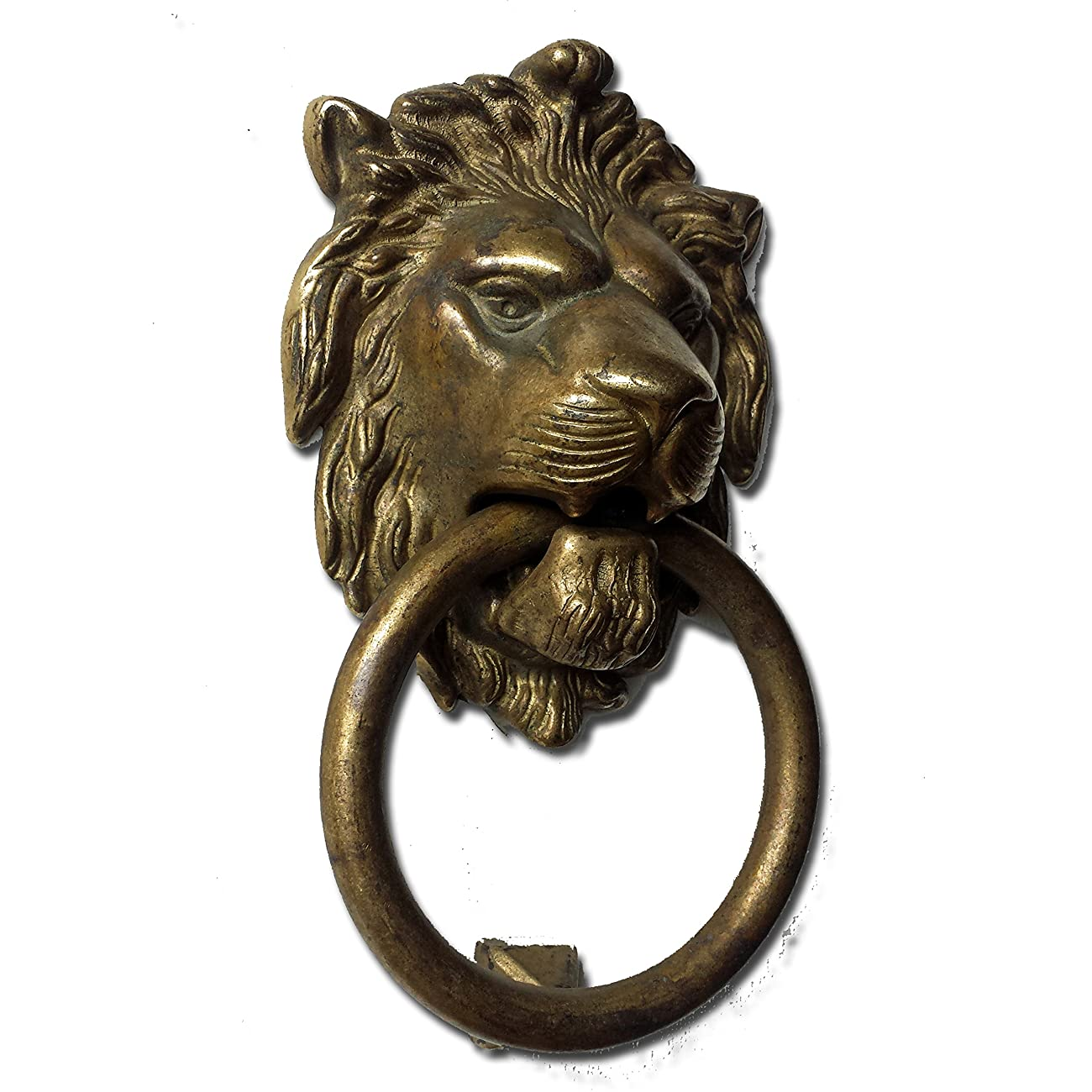 Bosetti Marella 100977.03 Lion Door Knocker, Distressed Antique Brass, 7.5