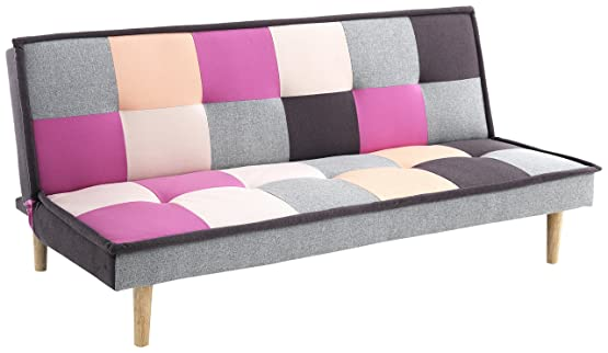 Wink Design Smart B Divano/Letto Chaise Longue, Tela, Multicolore, 90x80x180 cm