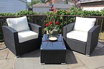 Patio Resin Outdoor 3 Pc Wicker Lounge Set. 2 Chair and Coffee Table. Black Color