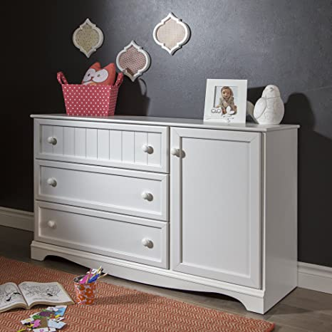 South Shore Savannah 3-Drawer Dresser with Door, Pure White