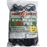 25 Pack Ball Bungee 9 inch Black | HeavyWeight 9'' Tarp Bungee Cords | Weather Resistant Tie Down Strap and 5mm Thickness | For tents, cargo, holding wire and hose (Color: Black, Tamaño: 9 Inch)