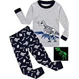 shelry Boys Dinosaur Pajamas Children Sleepwear Christmas 2 Piece Pants Set Toddler Clothes Size 4 (Color: Deep-blue-dionsaurs, Tamaño: 4T)