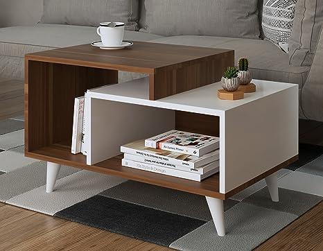 SAGE Couchtisch - Weiß / Nussbaum - Wohnzimmertisch - Beistelltisch - Kaffeetisch in modernem Design