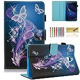 Samsung Galaxy Tab A 7.0 inch Case, SM-T280 Case, Dteck Slim Lightweight PU Leather Case Flip Folio Stand Case Cover for Galaxy Tab A 7.0 Tablet 2016 Release (SM-T280/SM-T285), Purple Butterfly (Color: 00- Purple Butterfly)