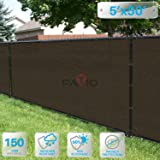 Patio Paradise 5' x 50' Brown Fence Privacy Screen, Commercial Outdoor Backyard Shade Windscreen Mesh Fabric with Brass Gromment 85% Blockage- 3 Years Warranty (Customized (Color: Brown, Tamaño: 5' x 50')