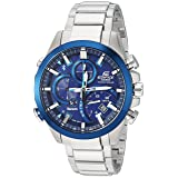 Casio Men's 'Edifice Solar Connected' Quartz Stainless Steel Casual Watch, Color:Silver-Toned (Model: EQB-501DB-2ACF) (Color: SILVER/BLUE)