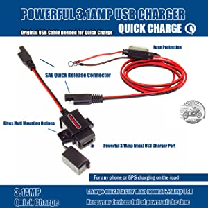 MOTOPOWER MP0609A 3.1Amp Motorcycle USB Charger Kit SAE to USB Adapter Phone GPS Charge On Motorcycle (Color: a) - SAE to USB Adapter & Ring Terminal SAE Cable)