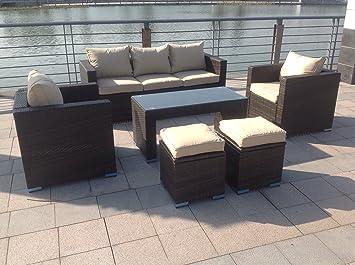 NEW Table Mobilier de jardin d'extérieur en rotin Canapé d'angle en rotin marron foncé