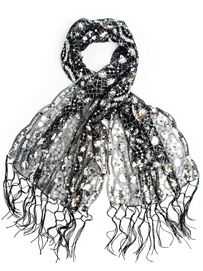 Vintage Scarves- New in the 1920s to 1960s Styles Vintage Inspired Sequin Shawl Evening Wrap Embroidered Sequin Fringe Shawl or Scarf $18.95 AT vintagedancer.com