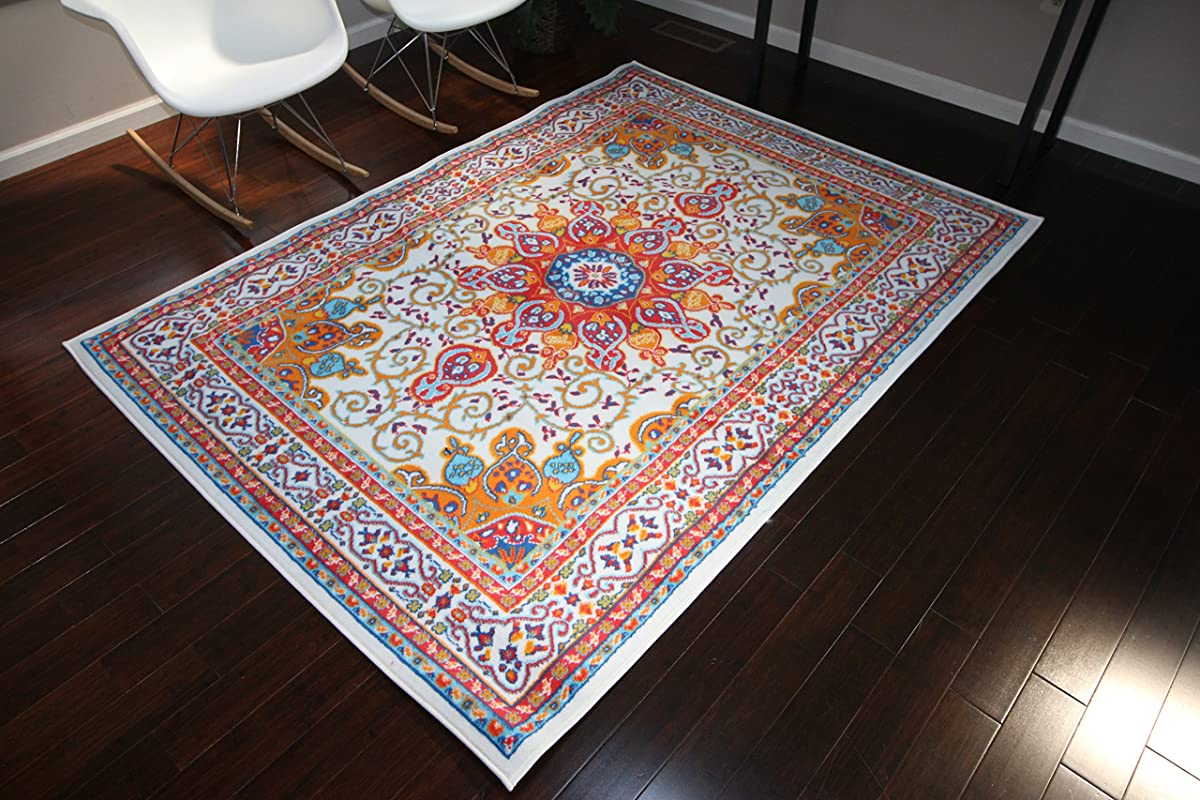 Generations pre8023White_10x13 Oriental Traditional Isfahan Persian Area Rug, 9 x 12, Light Blue/Navy/White/Orange/Yellow/Crimson Red