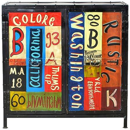 """Sit-Möbel 8909-99 cómoda """"Colore"""", 90 x 40 x 90 cm, de metal con aspecto de desgaste intencionados y vintage diseño pintado a mano"""