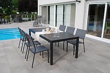 Salon de Jardin Vital 200 Anthracite - Table 200x100cm avec 6 chaises Clara