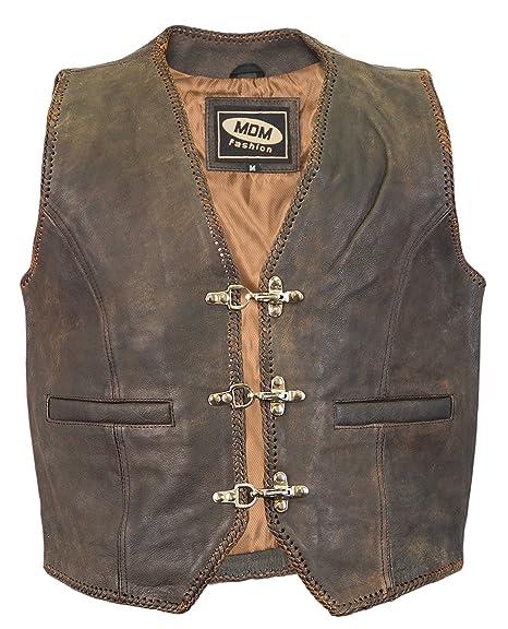 Veste gilet en cuir Biker brun (XL)