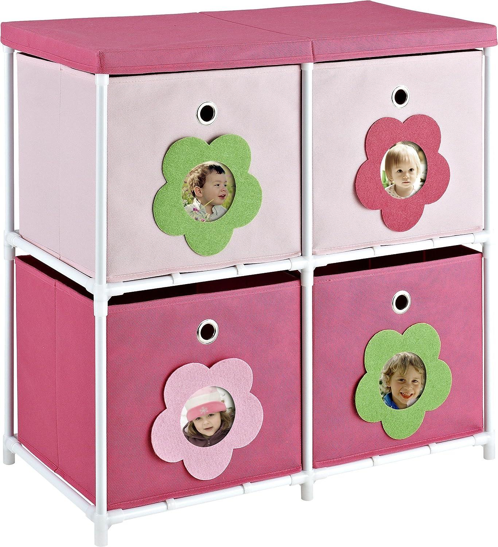Altra Furniture 4-Bin Kids Storage Unit, Pink with Flower Theme