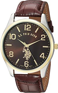 U.S. Polo Assn. Classic Mens USC50225 Watch with Brown Faux-Leather Strap