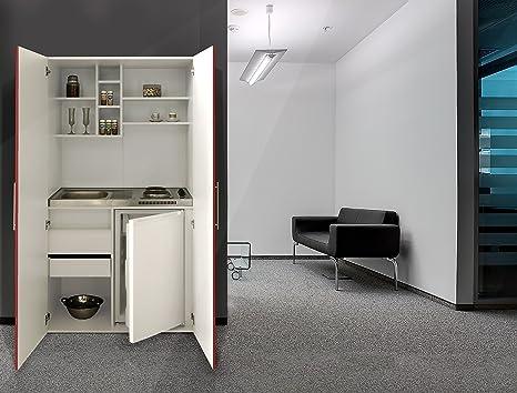 Respekta Single Office Pantry Mini Kitchen Unit White Front Red