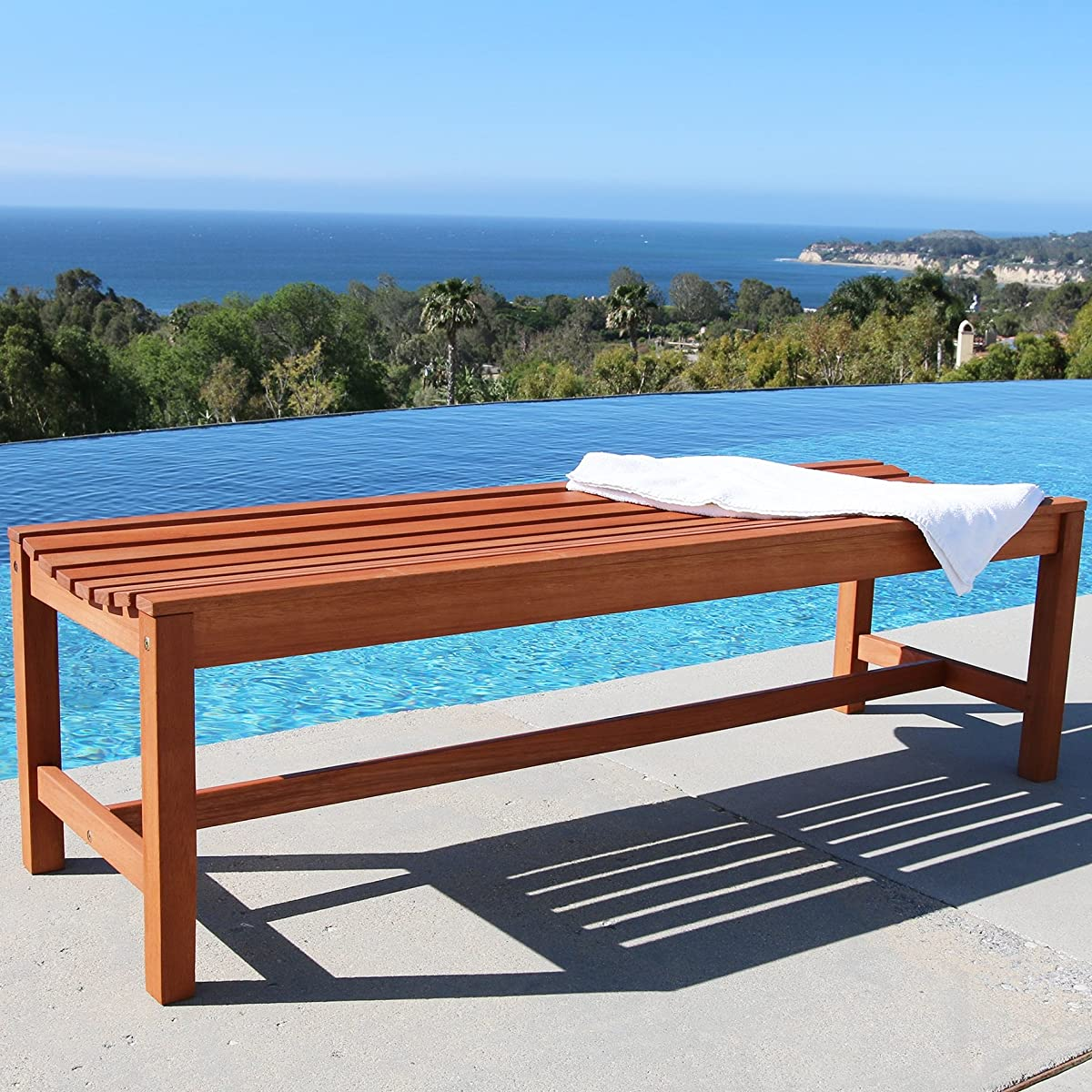 Vifah V025-1 Outdoor Baltic Wood Garden Backless Slatted Seat Bench, 5-Feet