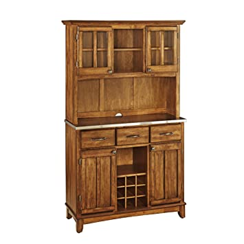 Home Styles 5100-0063-62 Buffet of Buffets Stainless Steel Top Buffet with Hutch, Cottage Oak Finish, 41-3/4-Inch