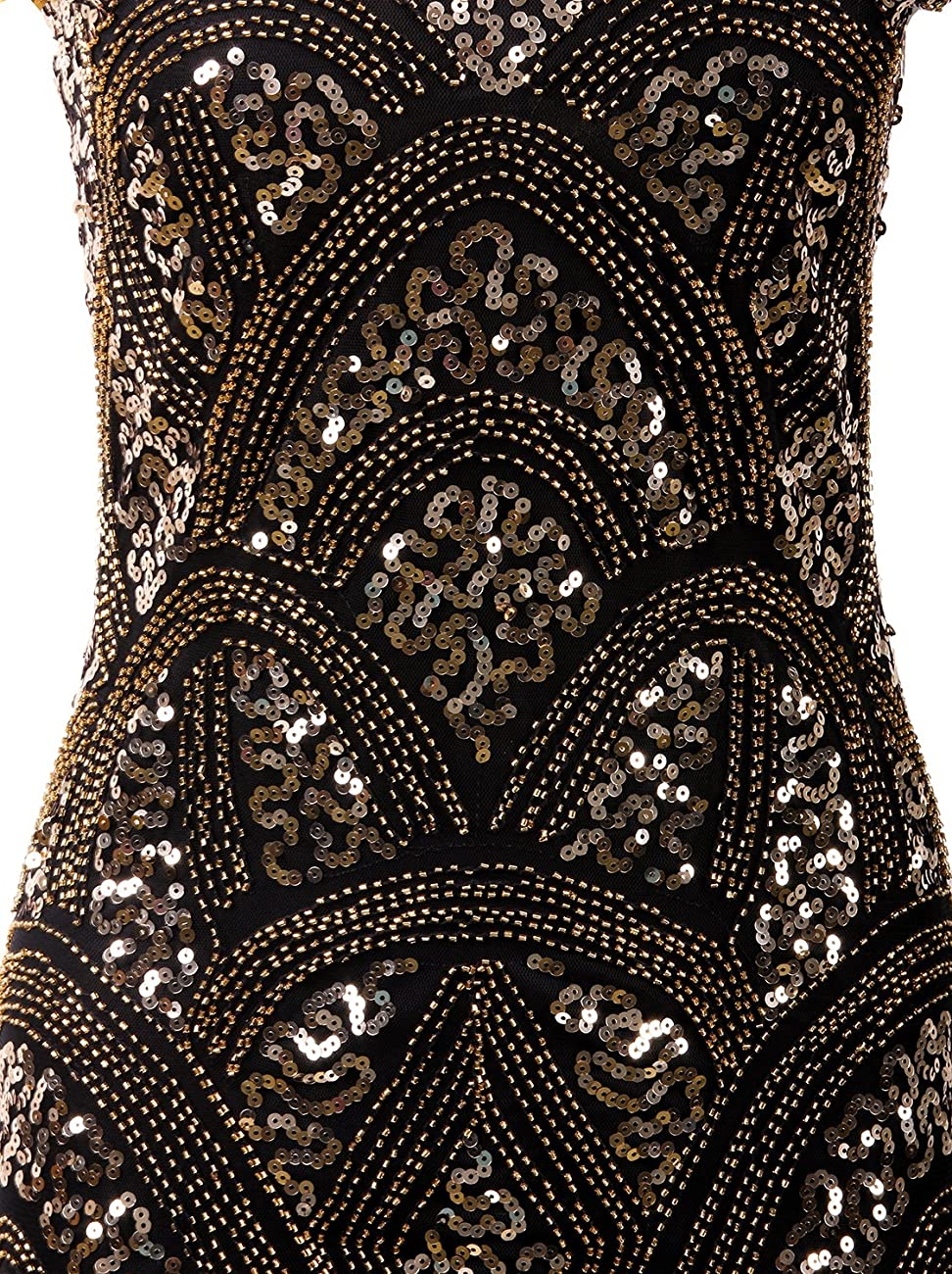 Vijiv 1920s Vintage Inspired Sequin Embellished Fringe Prom Gatsby Flapper Dress 5