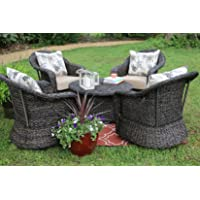 AE Outdoor 5 Piece Beltline Swivel Seating with Sunbrella Fabric