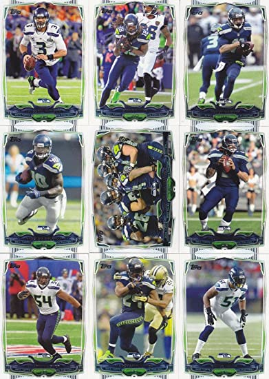 Seattle Seahawks 2014 Topps Complete Regular Issue 17 Card NFL Team Set Including Russell Wilson, Marshawn Lynch, Richard Sherman and Others