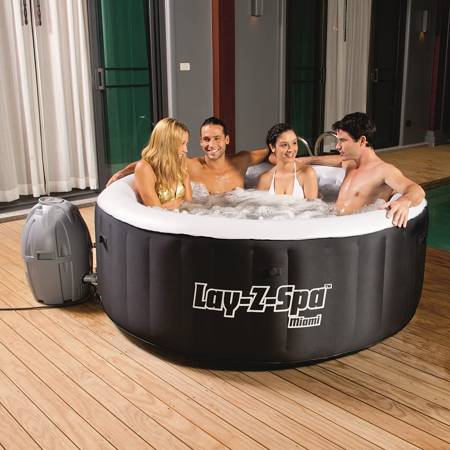 This outdoor hot tub is excellent to use.