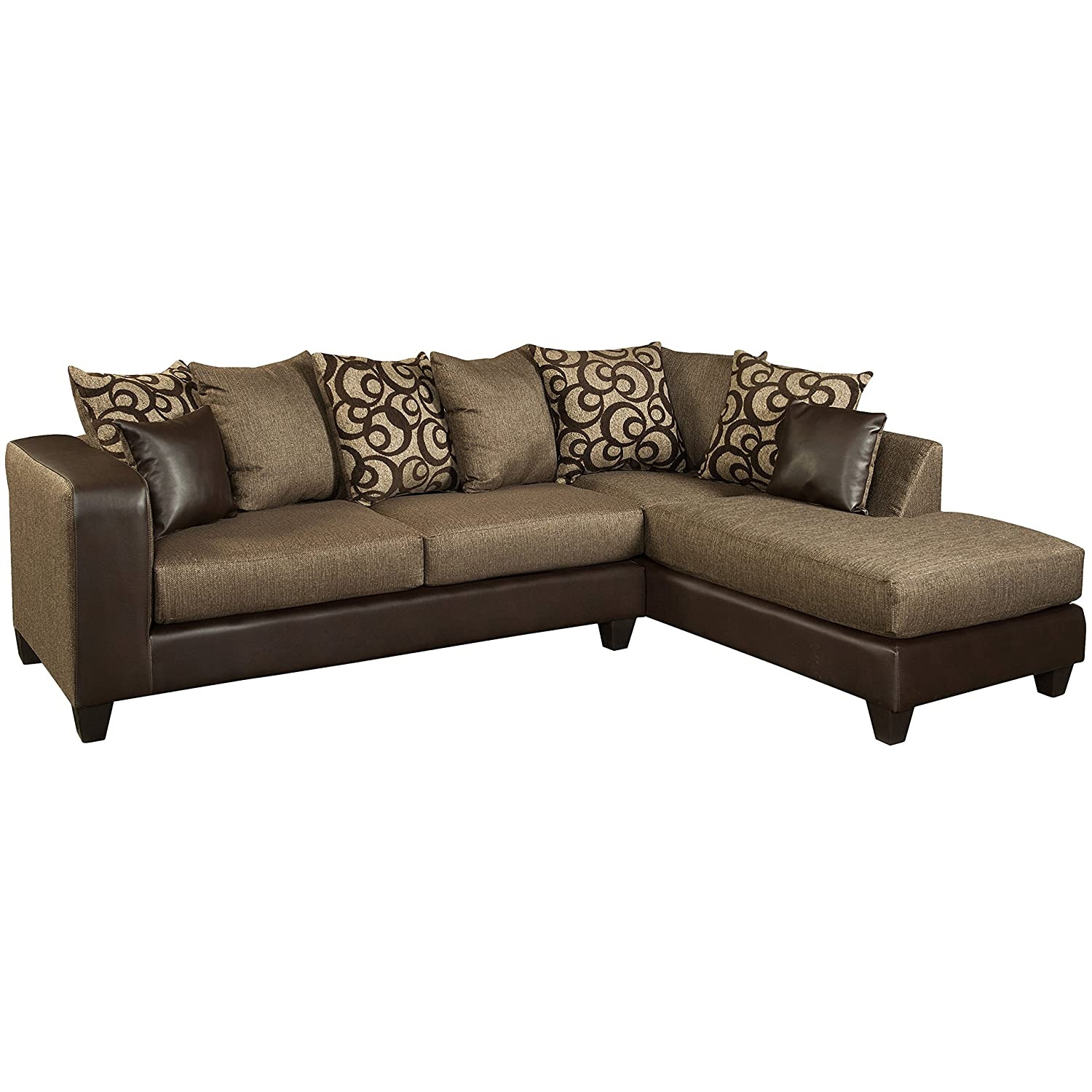 Flash Furniture Riverstone Object Espresso Chenille Sectional Sofa - Brown