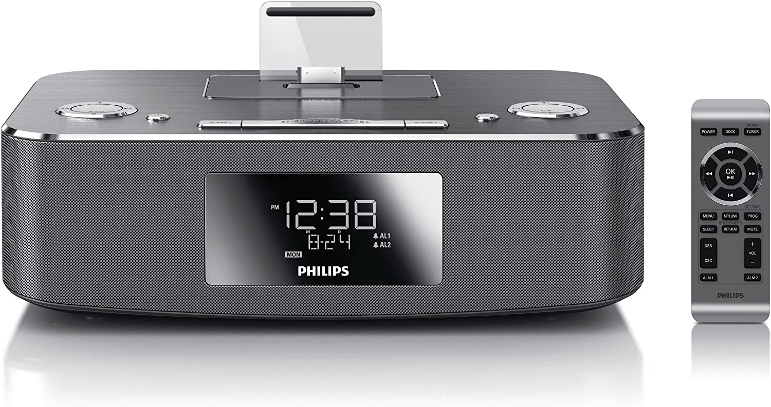 philips dc291 ipod iphone ipad docking clock radio with remote aluminium ebay. Black Bedroom Furniture Sets. Home Design Ideas